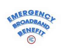 Fan-shaped logo of the Emergency Broadband Benefit program sponsored by the FCC.