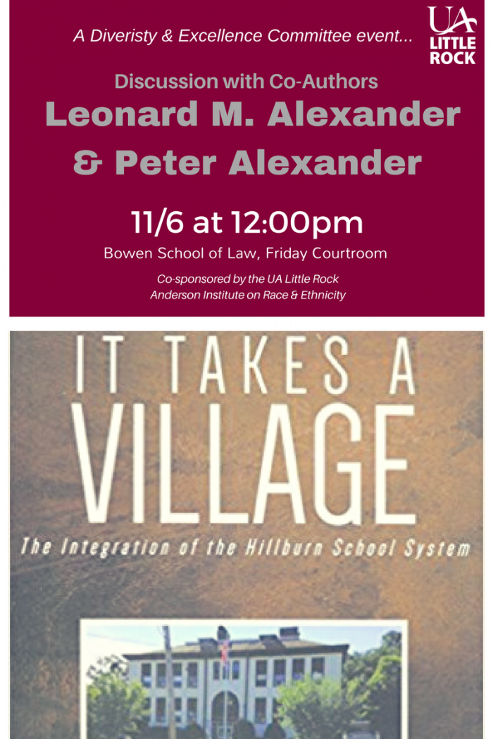It Takes a Village Book cover and event flyer