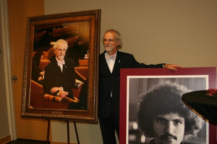 Dean DiPippa unveils his portrait for the Deans Gallery.