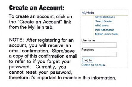 hein account creation