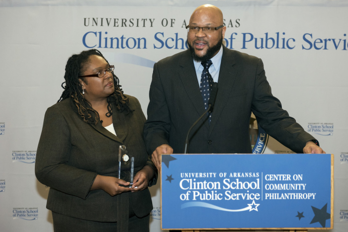 "he University of Arkansas at Little Rock Racial Disparities in the Arkansas Criminal Justice System Research Project has been selected as one of the Community Philanthropy Advancing Equity Award recipients. The University of Arkansas Clinton School of Public Service Center on Community Philanthropy presented the awards Jan. 23 as part of its National Day of Healing celebration. This award is given to organizations that are using innovative solutions to address racial inequalities in their communities and advance progress toward inclusion. ""We are pleased to be a part of this project,"" Bowen Dean John DiPippa said. ""Bowen's core values of access to justice, public service, and professionalism, require us to help bridge the gap between the criminal justice system and all Arkansans."" The research project, ran through the UA Little Rock William H. Bowen School of Law, seeks to reduce racial disparities and combat implicit racial bias in the criminal justice system through outreach and education. It began in 2011 under the leadership of Adjoa Aiyetoro, the inaugural director of the UA Little Rock Institute on Race and Ethnicity, and Dr. Charles Montague, director of eLearning & Scholarly Technology & Resources and professor of Criminal Justice. More than 70 people from throughout the state make up the project's steering committee. UA Little Rock also received a $5,000 stipend, which will be used to continue outreach and education efforts and to develop concrete strategies for combating implicit racial bias in the trial process. ""The project is honored to be named a recipient of the Advancing Equity Award,"" said Anastasia Boles, Bowen law school professor and member of the project's steering committee. ""We are especially excited to be a part of the important and continuing work the Center on Community Philanthropy is doing to advance racial equality in Arkansas and beyond."" Arkansas's population is only 15 percent African American, yet African Americans make up 42 percent of the state's prison population. In its initial research, the project sought to determine whether race was a driving factor in this disparity or whether there was another explanation. In 2015, the project released its finding that race is a determining factor in the charge and sentence a defendant will receive. Since its inception, the project has placed high importance on community guidance and outreach. It has hosted two conferences and at least 16 community forums throughout the state. In addition to sharing the message, these forums have also served as a way to collect stories from community members regarding how racial disparities in the criminal justice system have impacted their lives and the lives of their families. The project has also completed outreach to groups working in the criminal justice system, with presentations to public defenders, prosecutors, judges and bar associations. Continuing outreach efforts are focused on training and education on the topic of implicit racial bias. Additional recipients of the Community Philanthropy Advancing Equity Award include Immigration Arkansas, Inc., an organization with the goal to end racial division due to cultural and language barriers and misinformation in the community, and Give Us the Ballot, an educational platform designed around the civic theme of voting, particularly focused on youth. In the upper right photo, Anastasia Boles, assistant professor of William H. Bowen School of Law, and Malik Saafir, president and founder of Janus Institute For Justice, accept the Clinton School Center on Community Philanthropy Advancing Equity Award on behalf of the UA Little Rock Racial Disparities in the Arkansas Criminal Justice System Research Project. Photo by Lonnie Timmons III/UA Little Rock Communications."