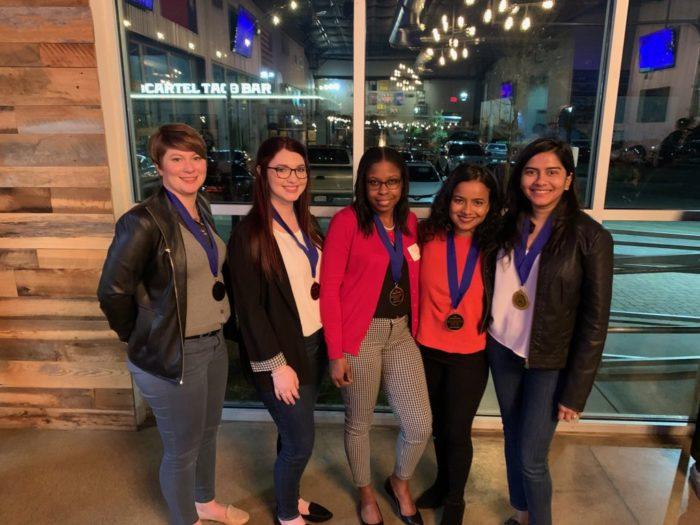 Winning teammates starting at left: Amanda Partridge (University of Arkansas at Little Rock), Macee Spencer (Louisiana State University), Jodeen Shillingford (Grambling State University), Aparajita Datta (University of Houston), and Anushree Deb (University of Texas at Austin). Photo courtesy of NASPAA.