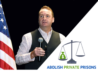 Photo of Prof. cummings and the Abolish Private Prisons logo