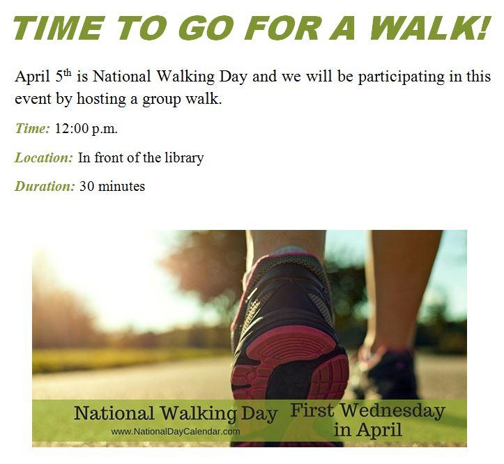 National Walking Day!
