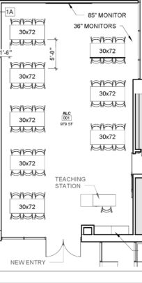 "Image of Collaborative Classroom. 8 30 by 72 tables, teaching station, 85"" monitor, 36"" monitors"