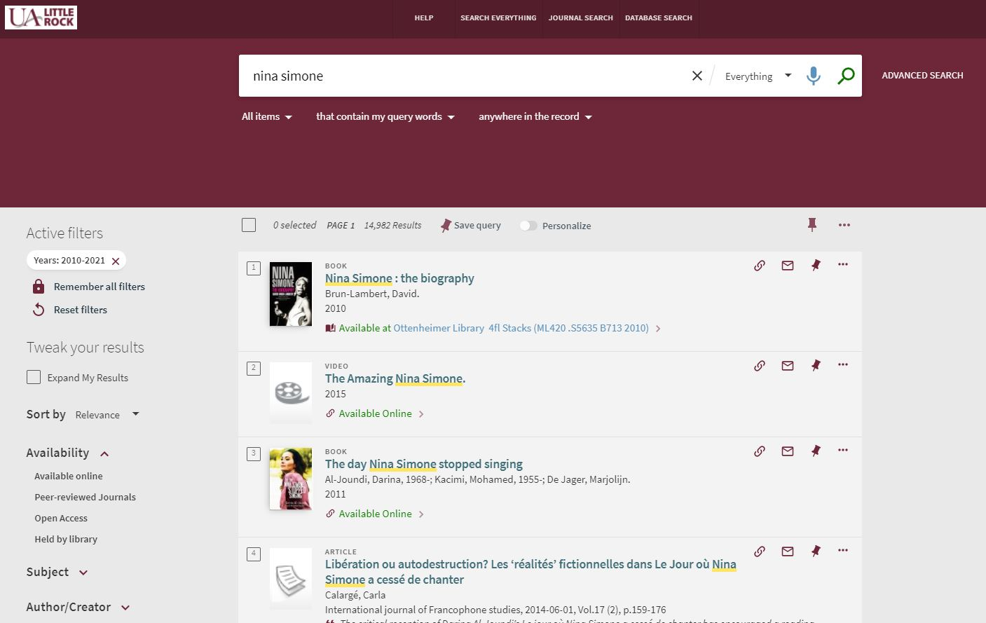 """Screen picture shows Primo System being used to search for """"Nina Simone"""" related posts in the UALR Library database."""