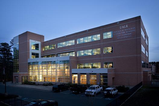 UALR Reynolds Building at Dusk