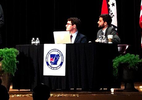 A close-up shot of Jacob Kauffman and Daniel Breen at the debate.