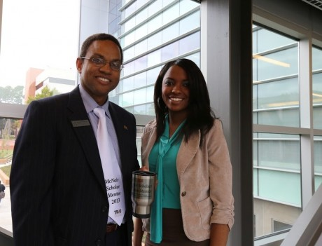 McNair Scholar, Taylor, and McNair Mentor, Dr. Hampton