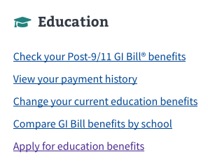 VA Ed Benefits link