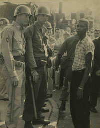 Terrence Roberts was confronted by soldiers and turned away from Central High School in 1957
