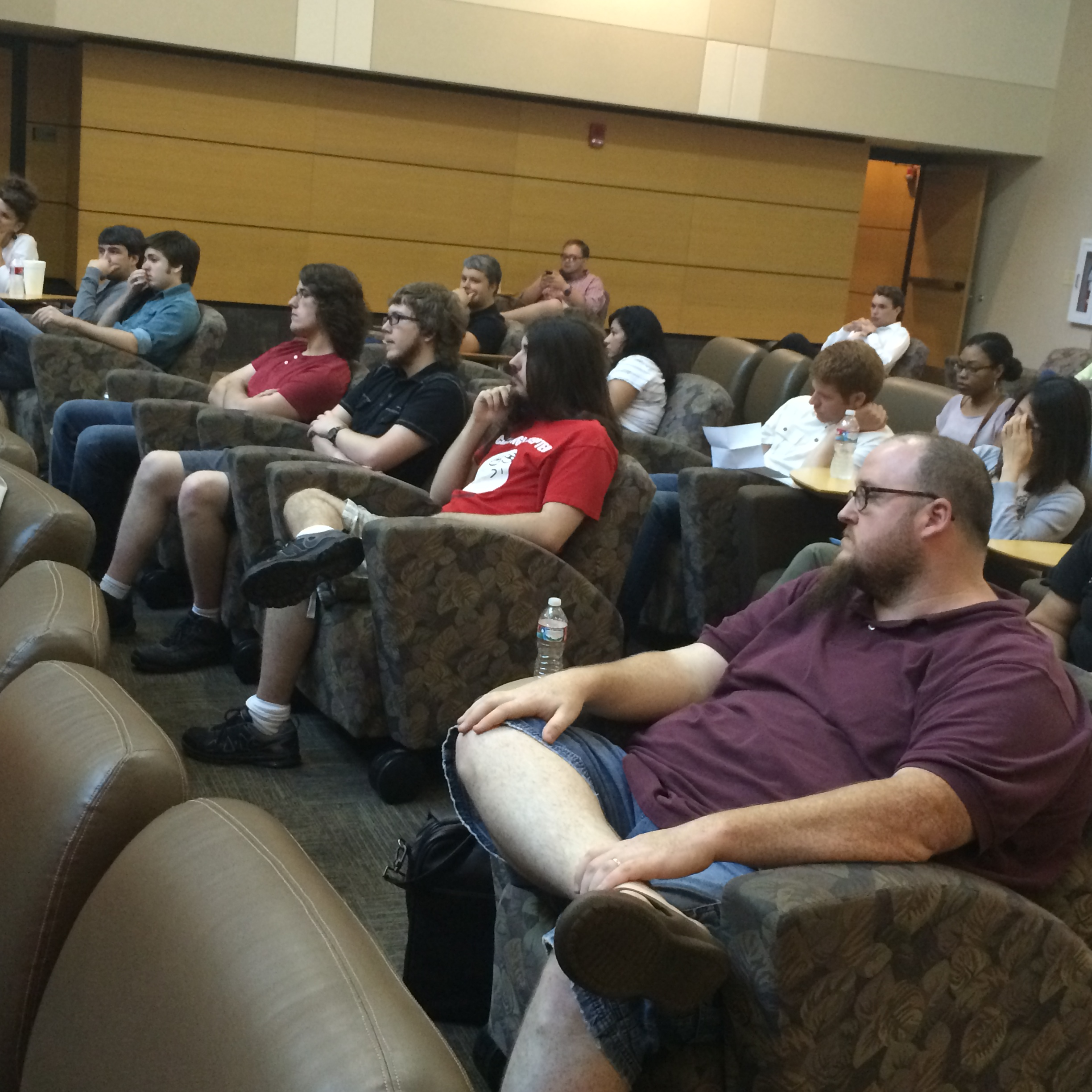 Participants at the opening session of a recent BarCamp event at UALR