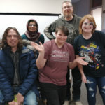 UA Little Rock students participate in Global Game Jam 2020 at the UA Little Rock CRUX Lab. Pictured left to right are Zach Bolt, Bushra Sajid, Emily Hillyard, Travis Bailey, and Loren Snow.