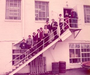 Bowen Law School students standing on an exterior building staircase, circa 1970s