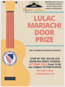 Mariachi Nuevo Jalisco is donating 30 minutes of music to help raise money for LULAC scholarships. Sign up to win for a donation of any amount from 11 a.m. to 1 p.m. at the Day of the Dead festivities at UA Little Rock on Oct. 29, 2019.