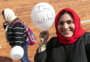A UA Little Rock student tries wearing the hijab for a day. Photo by Ben Krain.