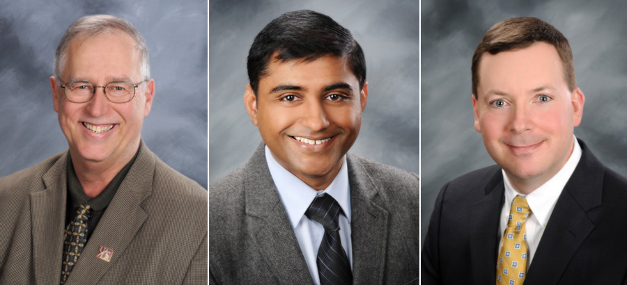 Faculty Excellence award winners for 2015: Jeff Gaffney, Nitin Agarwal, Tom Tudor