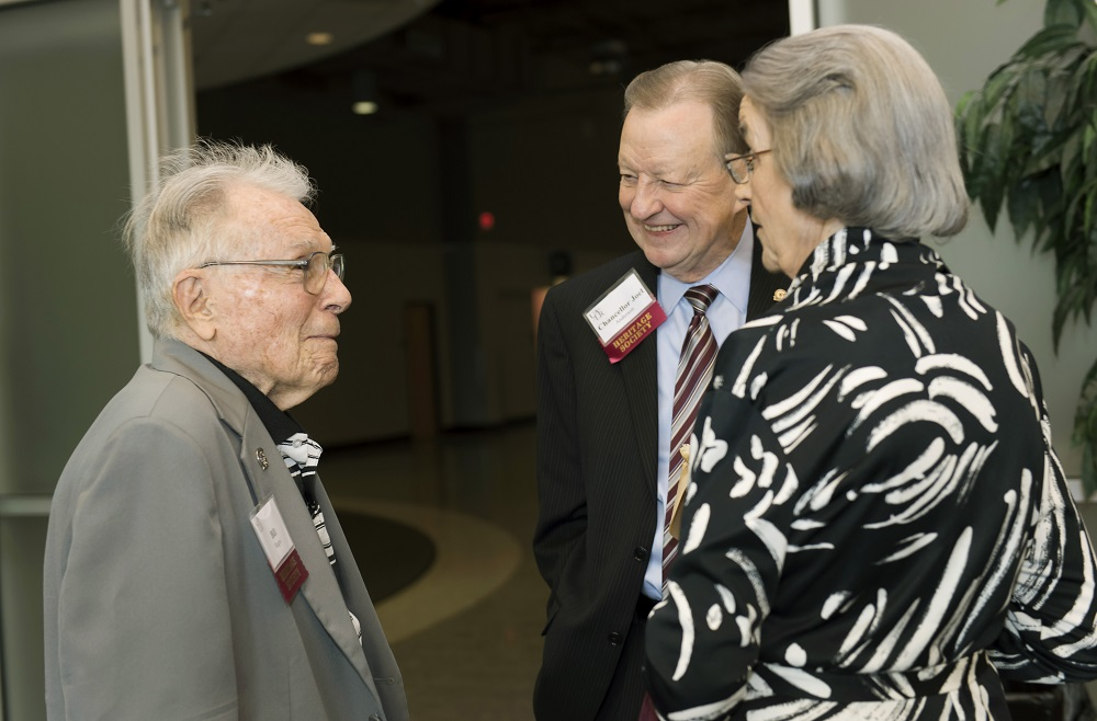 Members of the Heritage Society meet with Chancellor Anderson during the 2015 Heritage Society Coffee with the Chancellor at the Jack Stephens Center.
