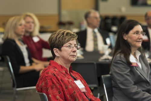 UALR Heritage Society members listen to presentations during a Coffee with the Chancellor event