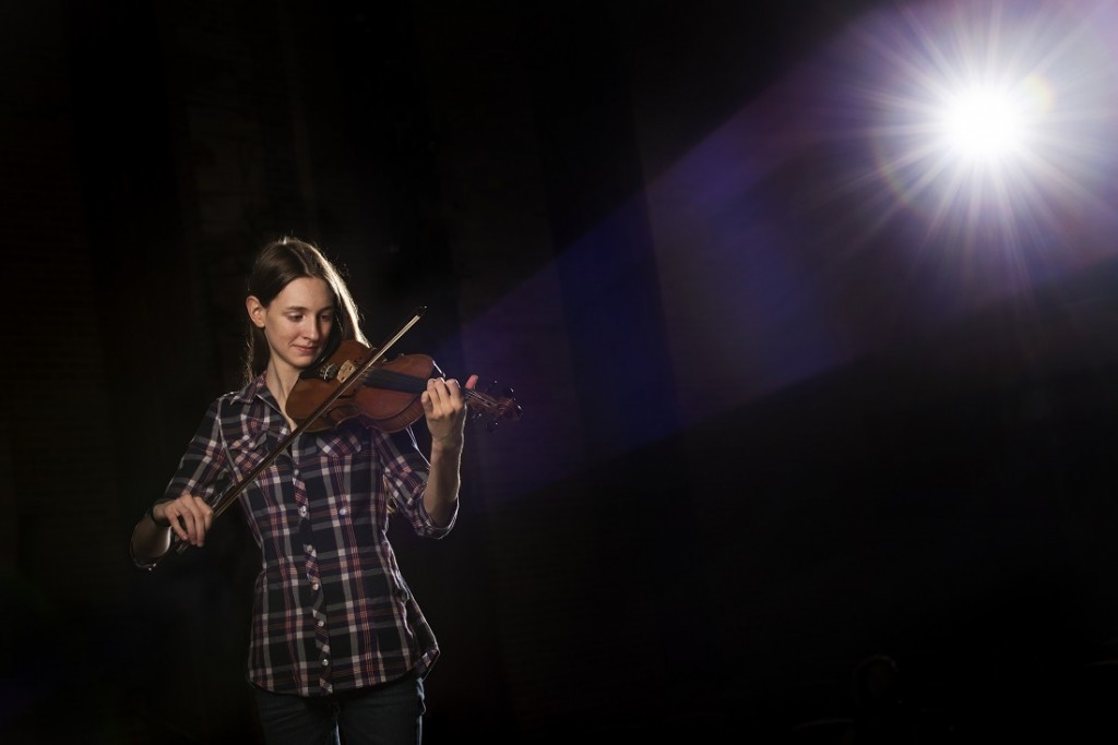 UALR student and traditional-style fiddling champion Emily Phillips photographed on Sept. 8, 2015, at Stella Boyle.