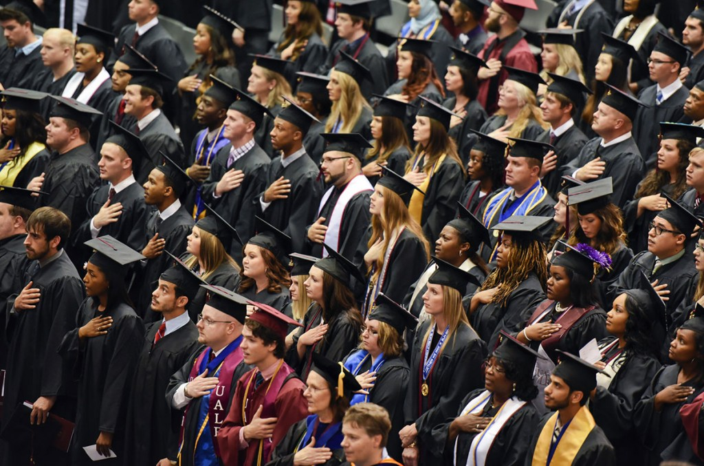 Image of graduates at the 2015 spring commencement ceremony