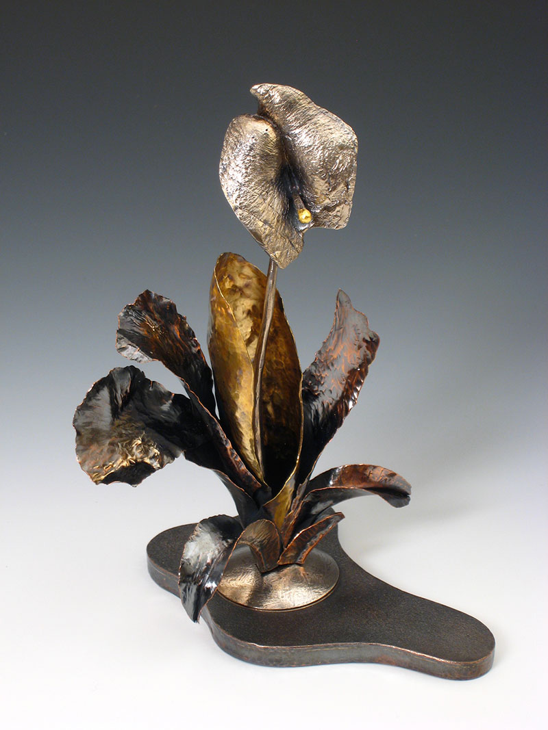 """Douglas Frank, """"No Green Thumb Needed"""" Cast sterling silver, fabricated copper, brass, gold leaf, 2015"""