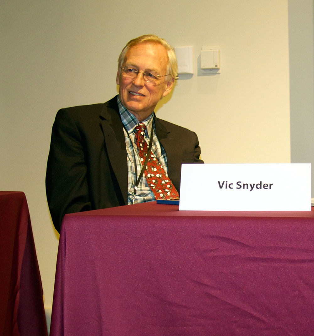 Former U.S. Congressman Vic Snyder during a steamboat symposium at UALR in November 2015