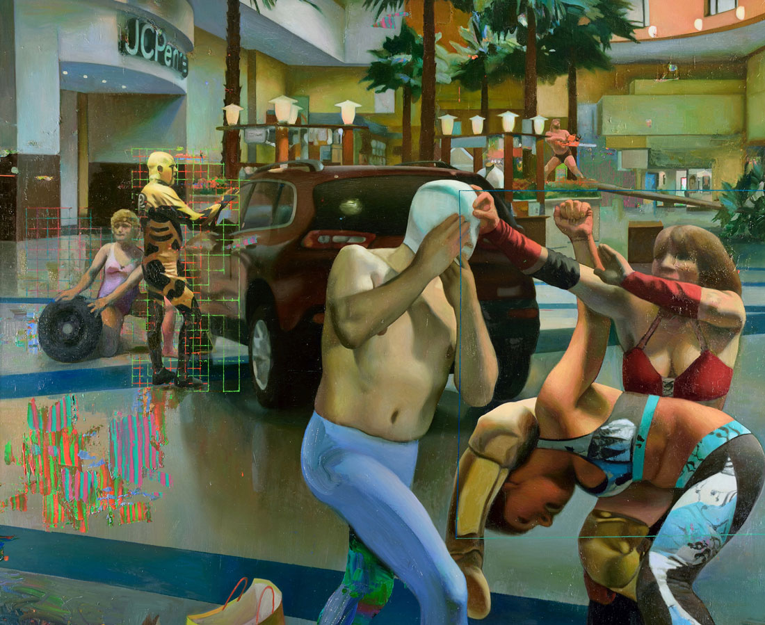 Oil painting by artist Robert McCann depicting professional wrestlers battling in a mall