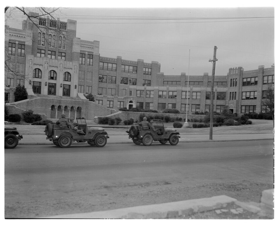 The 101st Airbourne division arrives at Little Rock Central High School, 1957.
