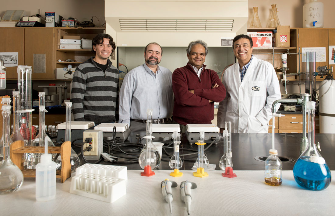From left: Drs. Allan Thomas, Brian Berry, Nawab Ali, and Tito Viswanathan. Photo by Lonnie Timmons III