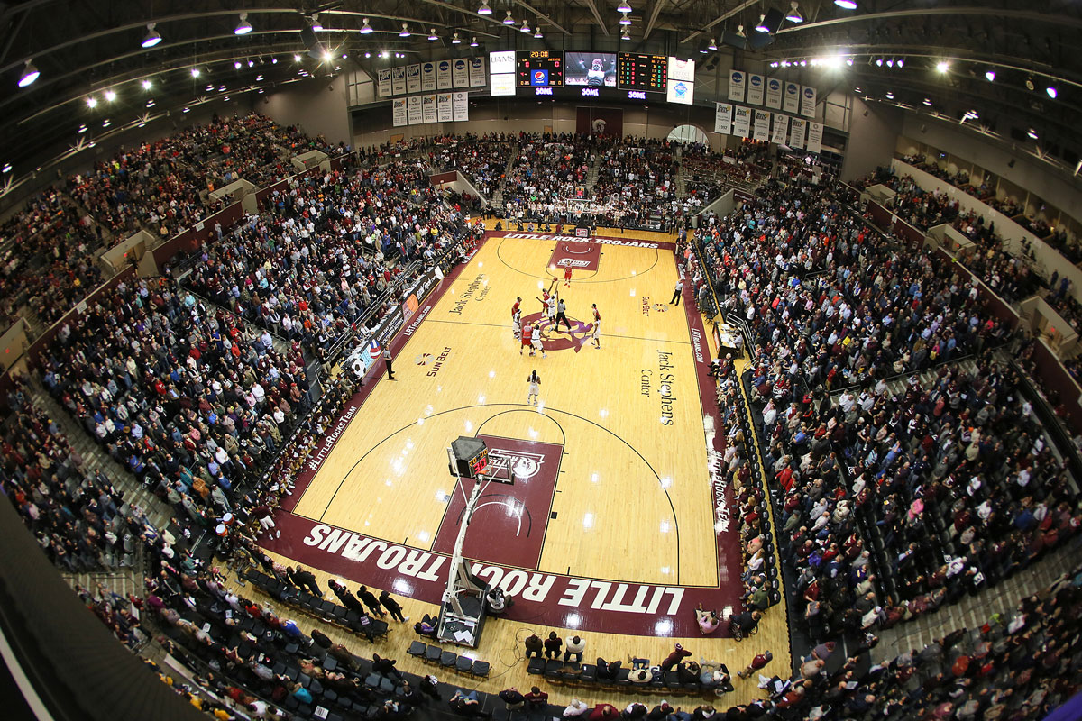 Wide angle shot of the Jack Stephens Center filled to capacity during the Little Rock Trojans' win over Arkansas State.
