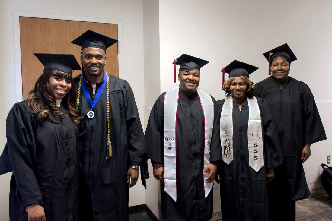 Four UALR staff members and one family member earned their college degrees in December 2016, thanks to a scholarship program from the Facilities Management Department. The fall 2016 graduates, from left to right, include Rayme Wilson, Jesse Wilson, Devin Banks, Brenda Glover, and Cindy McDonald.