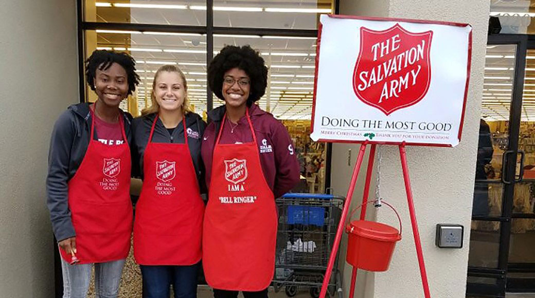Student-athletes from the University of Arkansas at Little Rock volunteered more than 250 hours with the Salvation Army during the 2016 holiday season.