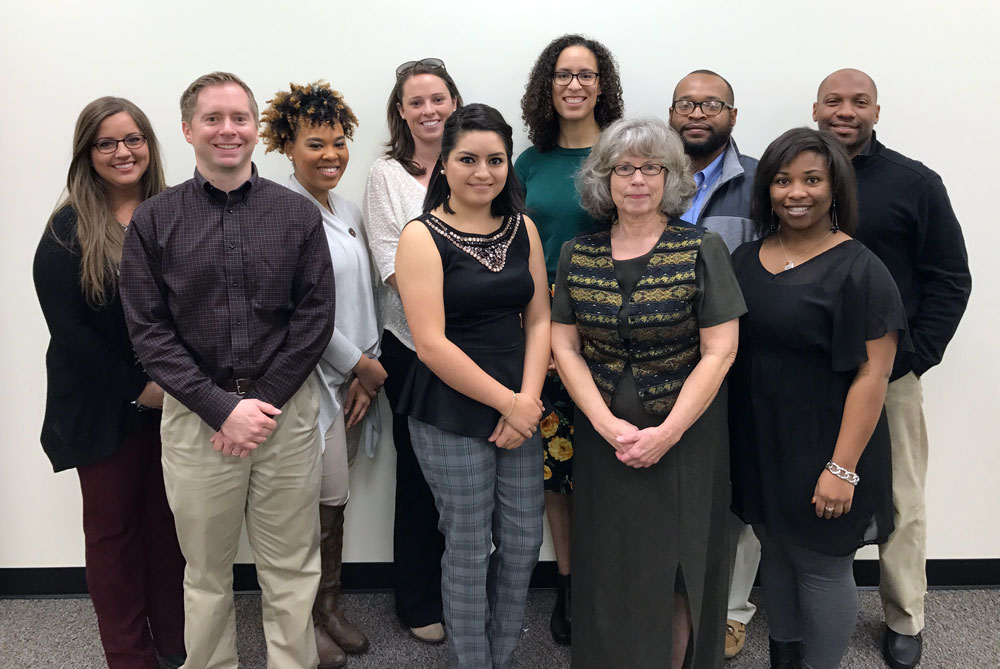 Members of the University of Arkansas at Little Rock TRIO Talent Search staff include: Back row (left to right) Crystin Amato, Michita Merriweather, Rachel Vanveckhoven, Elena Maina, Billy Huggins, and Jermaine Rudd. Front row (left to right): Brandon Scaife, Sandra Carmona Garcia, Linda Barker, and Shanikia Williams.