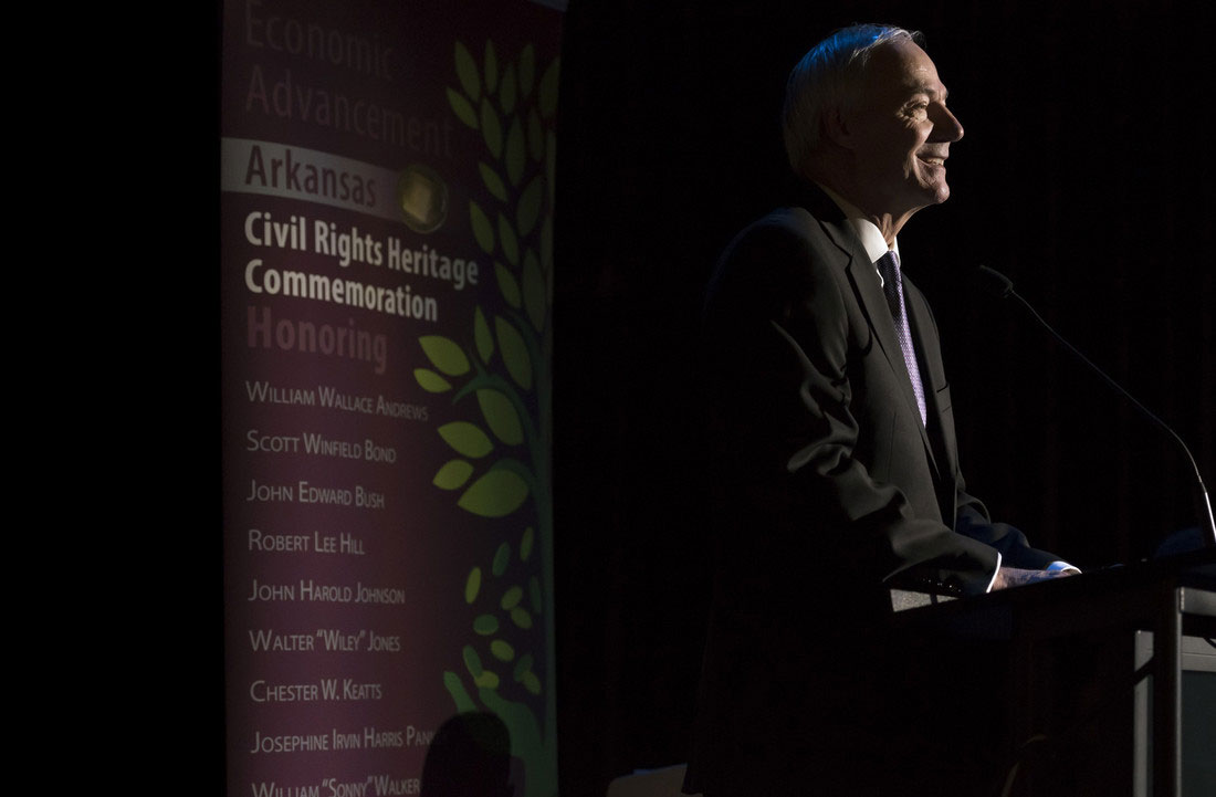 Gov. Asa Hutchinson gives the introduction to the induction ceremony for the 2017 Arkansas Civil Rights Heritage Trail honorees. Photo by Lonnie Timmons III.