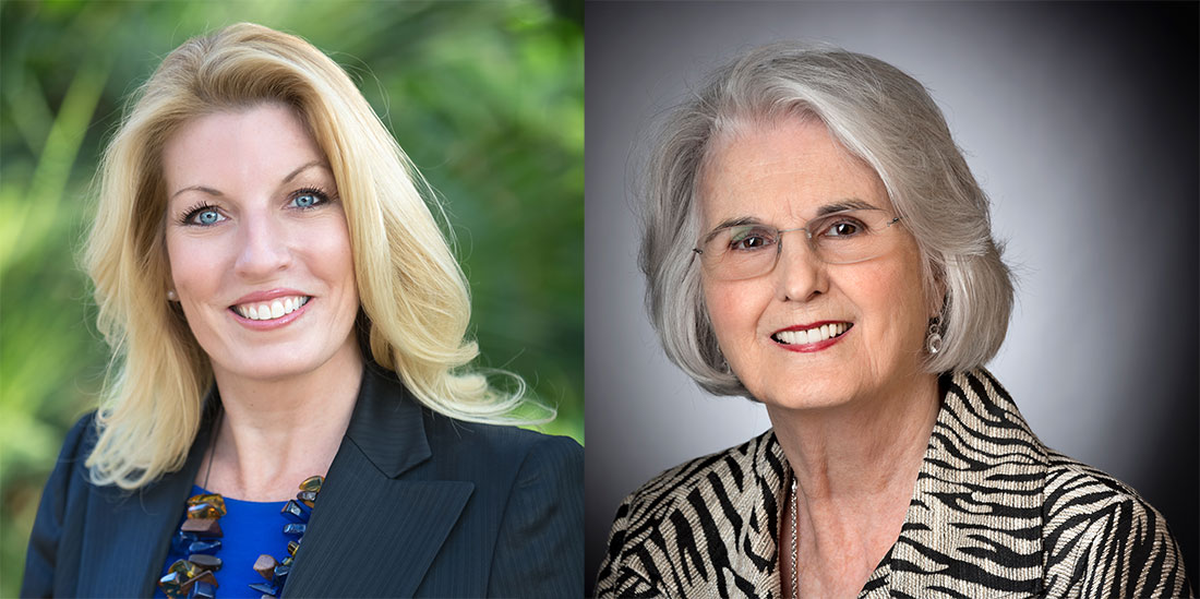 The University of Arkansas at Little Rock 2017 Distinguished Alumna is Candice Corby (left), and the Presidents Award recipient is Rebecca Ward (right).