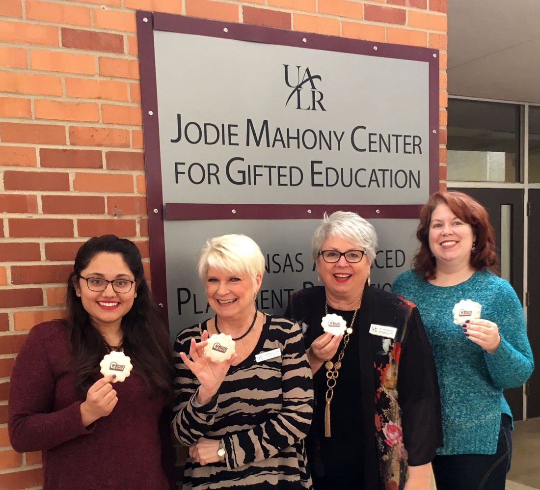 Members of the Jodie Mahony Center for Gifted Education earned special cookies during the 2016 UA Little Rock employee giving campaign.