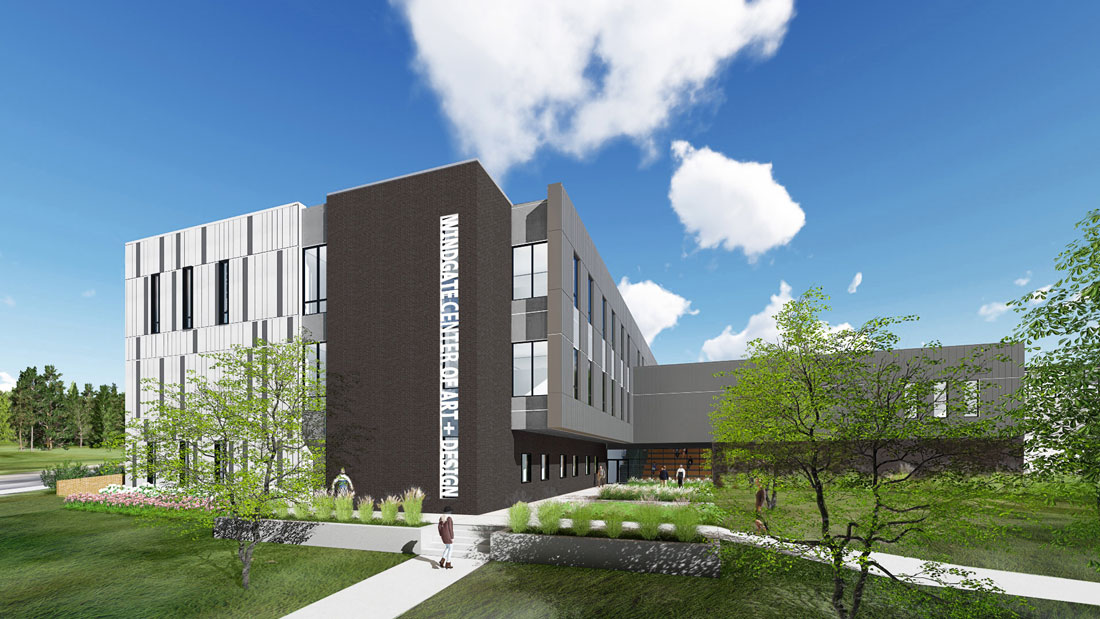 Drawing of the new Windgate Center of Art + Design