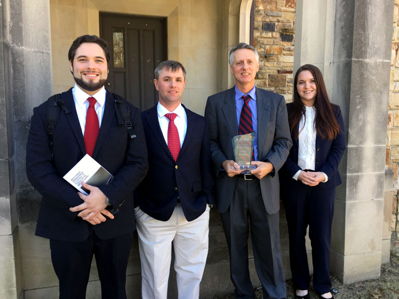 "UA Little Rock team that advanced to the ""Americas"" round of the CFA Institute Research Challenge. From left to right: Tanner Whisenhunt, Andrew Fielder, Bryan Sparks and Autumn Bauman."