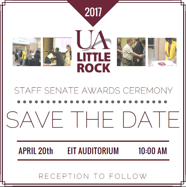 The 2017 Staff Awards Ceremony will be on April 20.