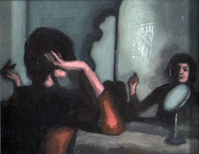 "Jeremy Couch's painting, ""She told me a story as long as her lashes…,"" is on display in the spring art exhibit."