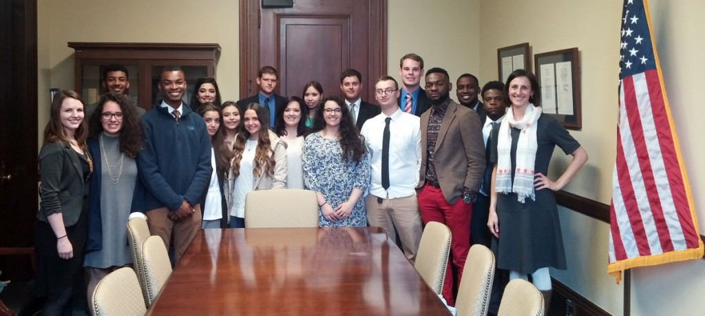 UA Little Rock students visit Sen. Tom Cotton during a trip to the National Model Arab League in Washington, D.C. Pictured (L-R) Back row: Jalen Stevenson, Vanessa Griffin, Nathan Davis, Heidi Davis, Austin Soulsby, Kevin Shatley, and Brian Gregory. Front row: Shelby Shelton, Andrea Elias, Makell Swinney, Eliza Akhoudas, Anet Rosas, Paige Topping, Emily Powell, Mariam Bouzihay, Austin Robinson, Emmanuel Onochie, Jonathan Nwosu, and Dr. Rebecca Glazier.