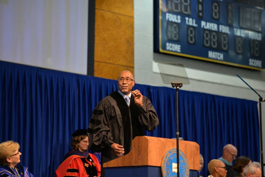 Dr. Glenn Anderson delivers the commencement address at Gallaudet University's ceremony on May 12. Photo by Zhee Chatmon of Gallaudet University.