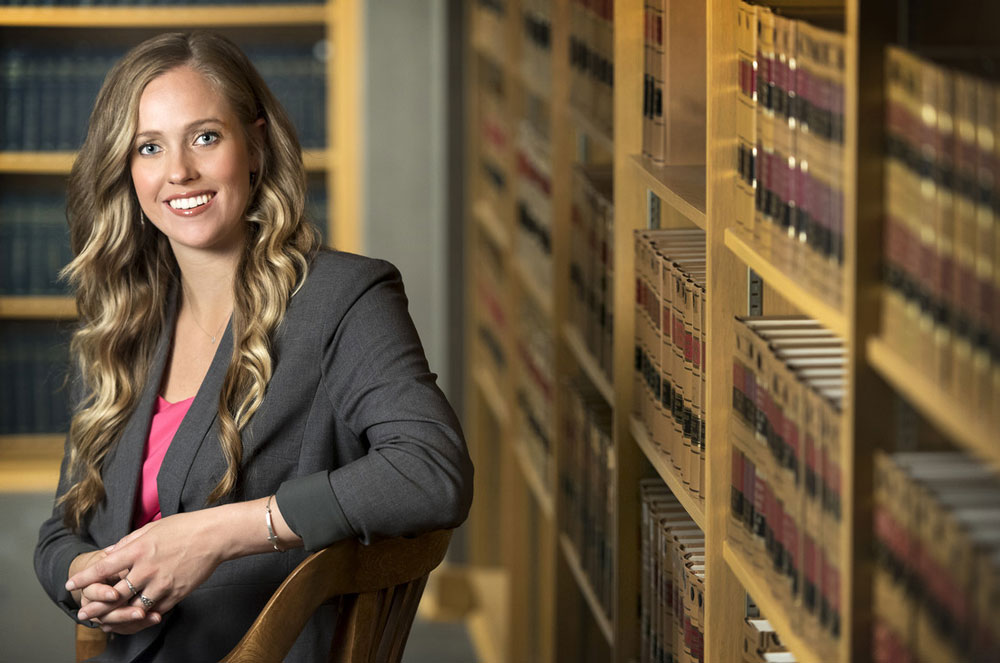 Whitney Ohlhausen in the Bowen School of Law library.