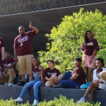 Students who won a trip to Washington, D.C. through an essay contest with the Anderson Institute on Race and Ethnicity visit the National Museum of African American History and Culture.
