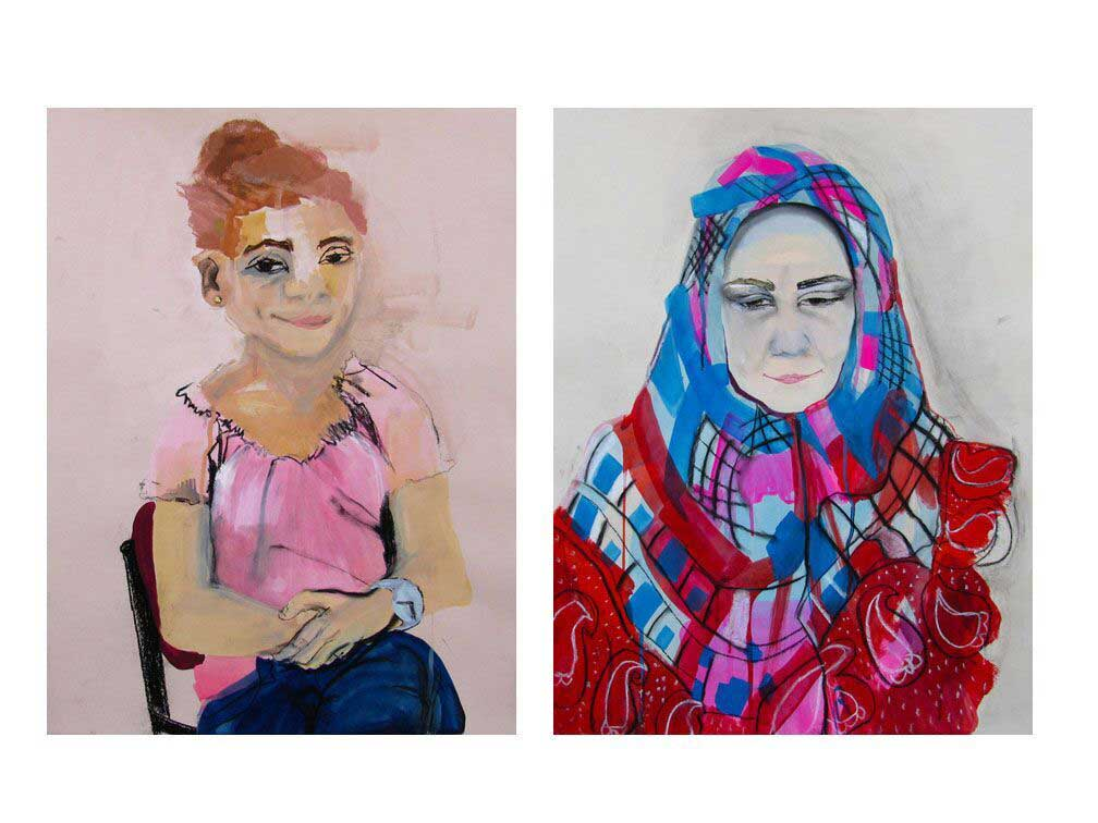 Zina Al-Shukri, Gushing with Confidence and Jealousy, Gouache, ink, charcoal, metallic pigment on paper