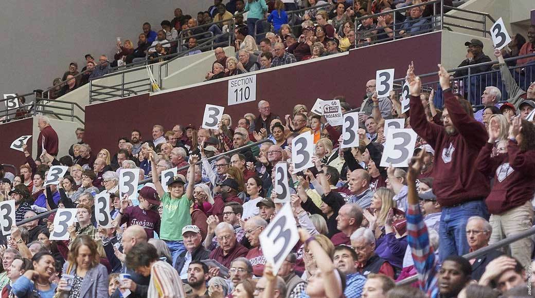 An enthusiastic crowd supports UA Little Rock athletes in the Jack Stephens Center.
