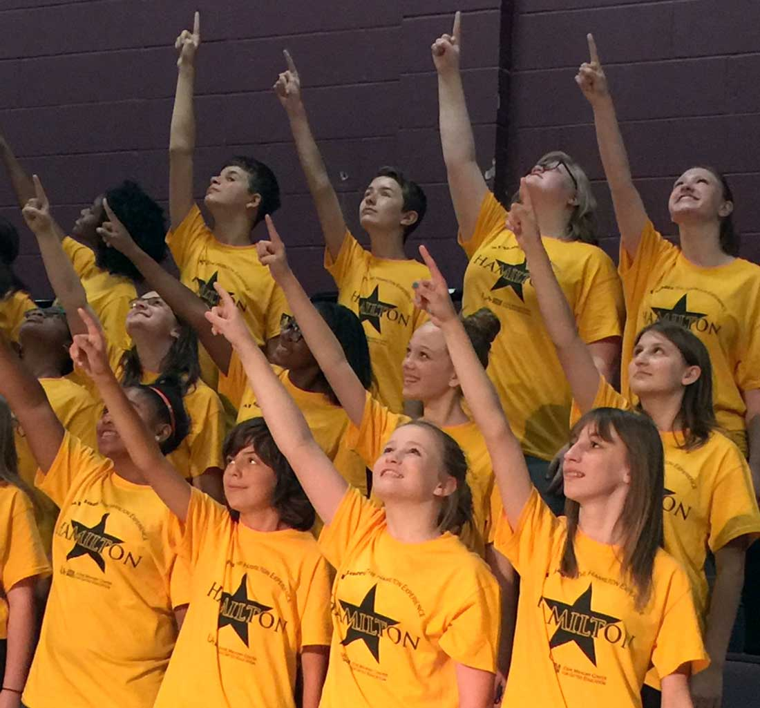 """Students perform a musical number at """"MT Stage: The Hamilton Experience"""" summer enrichment program."""