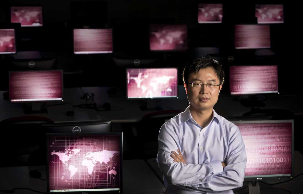 Dr. Mengjun Xie, who is developing a cybersecurity lab.