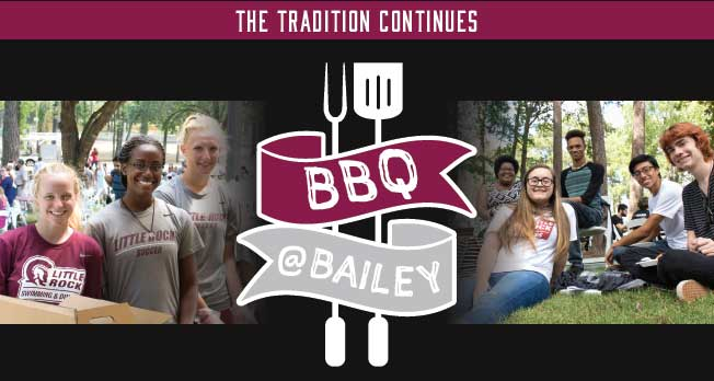 The annual BBQ at Bailey event will be held from 11:30 a.m. to 1:30 p.m. at the Bailey Alumni and Friends Center on the UA Little Rock campus.